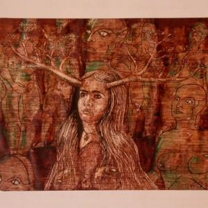Felszarvazás / Cuckolding (1979, diófapác tempera, 30 cm 20 cm)