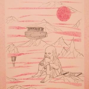 Noé/ Noah (1980, tus-tempera, 35 cm x 50 cm)