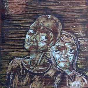 Idős pár / Elderly Couple (1981, diófapác tempera, 35 cm x 50 cm)