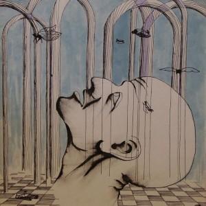 Madarak, művészet, idő / Birds, Art, Time (1981, tus-tempera, 29,5 cm x 41,6 cm)