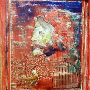 Önarckép kalitkával / Self-portrait with a Cage (1982, vegyes, 32,8 cm x 39,8 cm)