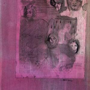 Arcok / Faces (1983, tus, 30,5 cm x 43 cm)