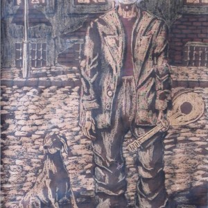 Kintornás / Street Musician (1983, diófapác, 41 cm x 60 cm)