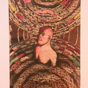 Merülés / Diving (1983, diófapác-tus-tempera, 18,5 cm x 28,7 cm)