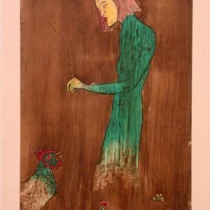 Pi-pi! (1983, diófapác-tus-tempera, 18,8 cm x 28,7 cm)