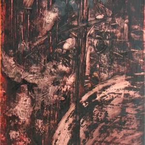Hagymáz / Delirium Fever (1984, diófapác-akvarell, 35 cm x 50 cm)