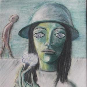 Kalapos lány / Girl with a Hat (1984, zsírkréta, 24 cm x 36 cm)