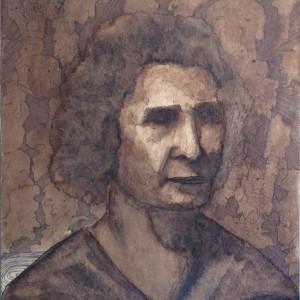 Arckép barnában / Portrait in Brown (1985, diófapác, 30,5 cm x 43 cm)