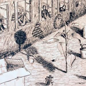 Nemnapraforgó / Nonsunflower (1985, tus, 25,5 cm x 18,5 cm)