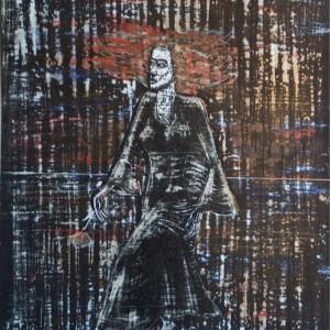 Cigánylány 1 / Gipsy Girl 1 (1986, tus-tempera, 27,8 cm x 36,5 cm)