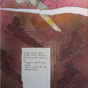 Gólya gólya / Stork, Stork (1988, vegyes, 37,5 cm x 51,5 cm)