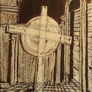 Megfeszített Nap / Crucified Sun (1988, diófapác-tus, 21,5 cm x 30,5 cm)