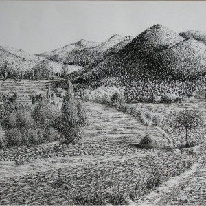 Keszihóc (1990, tus, 41 cm x 27 cm)