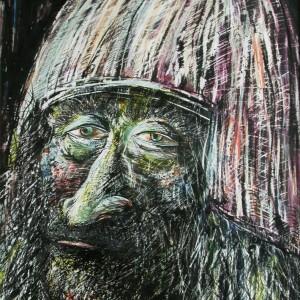 Az öreg király / The Old King (1992, zsírkréta, 24 CM x 34 CM)