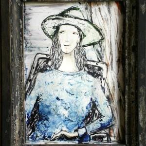 Kalapos lány II / Girl with a Hat II. (1993, akvarell-tus, 9 cm x 12 cm)