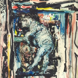 Táncoló birka / Sheep Dancing (1997, vegyes, 16 cm x 22 cm)