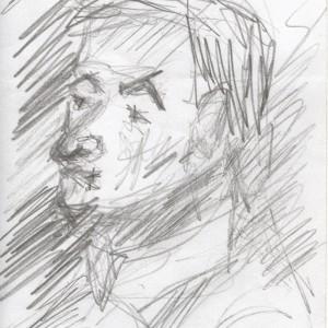 B. Karcsi / Charlie B. (2002, grafit, 10,5 cm x 14,5 cm)