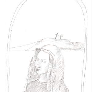 Madonna két kereszttel / Madonna with two Crucifixes (2002, grafit, 14,5 cm x 21 cm)