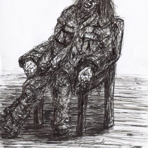 Kéregető / Beggar (2004, toll, 15 cm x 21 cm)