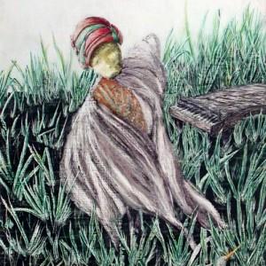 Kiskacsa / Duckling (2002, akvarell, 26 cm x 53 cm)