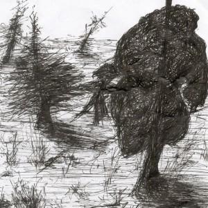 Felnyársalva / Impaled (2004, toll, 13 cm x 14,5 cm)